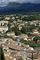view of the castle on the town of Crest, Drôme, France.