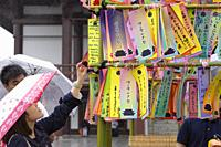 A visitor hangs her wishes on bamboo in commemoration of Tanabata festival at Zojoji Temple on July 07, 2019, Tokyo, Japan. Every year, people write t...