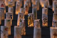 Lanterns are on display in commemoration of Tanabata festival at Zojoji Temple on July 07, 2019, Tokyo, Japan. Every year, people write their wishes o...