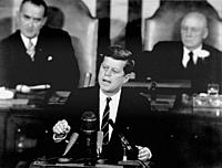 USA Washington DC -- 25 May 1961 -- President John F Kennedy in his historic message to a joint session of the US Congress, on the 25th May, 1961 decl...