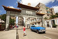 View to the entrance door of the China town-Barrio Chino in Center Havana, La Habana, Cuba, West Indies, Central America