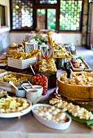 appetizer buffet at the wedding party before lunch.