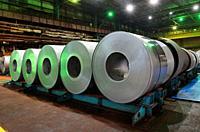 Galvanized role steel in steel plant.