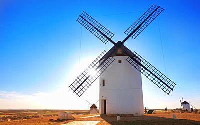 Mota del Cuervo windmills in Cuenca at Castile la Mancha of spain.