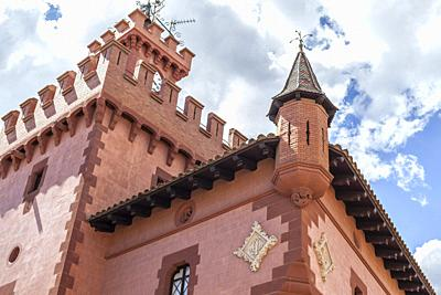 Artistic architecture,Can Modolell,ancient fortified defense tower. Viladecans,Catalonia,Spain.