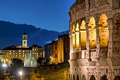 View of the Colosseum and the Campidoglio, Rome, Italy.