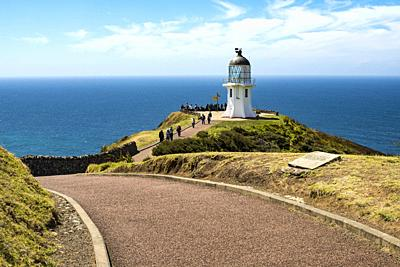 Lighthouse at Cape Reinga, Northland, New Zealand.