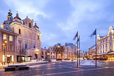 Winter dawn in Vilnius old town, Lithuania.