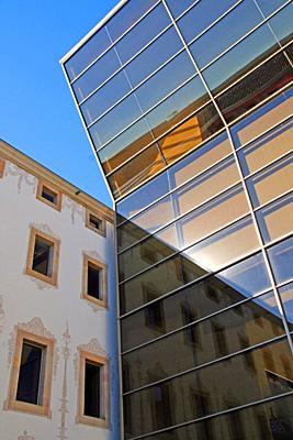 reflections in the glass, antiga Casa de la Caritat, CCCB, Center for Contemporary Culture of Barcelona, Catalonia, Spain