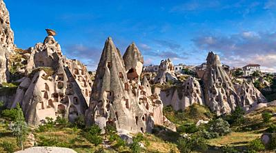 Pictures & images of Uchisar Castle & the cave houses in the rock formations & fairy chimney of Uchisar, near Goreme, Cappadocia, Nevsehir, Turkey.