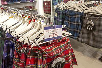 Mens party tartan kilts on sale in a store in Edinburgh,Scotland.