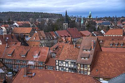 old town seen from above, Quedlinburg, Saxony- Anhalt, Germany.