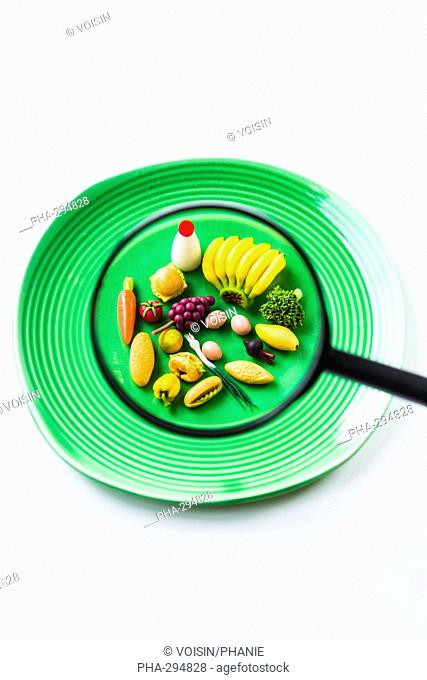 Food and magnifying glass
