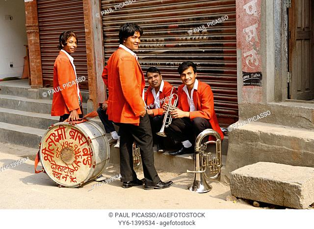 street musicians, marching band waiting for festival to begin , kathmandu , nepal