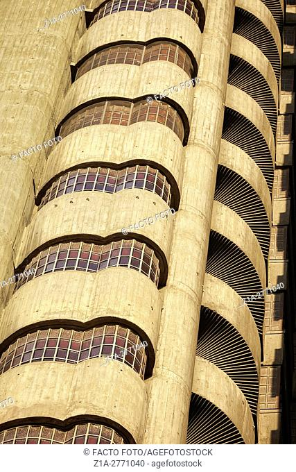 ÒTorres BlancasÓ (White Towers) building detail, a landmark of Madrid's architectural history, by architect Saenz de Oiza. 1961-1969. Madrid. Spain