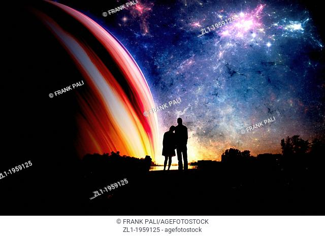 Couple in sillhouette with space background