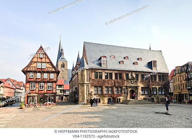 The historic market square of Quedlinburg, Harz, Saxony-Anhalt, Germany, Europe