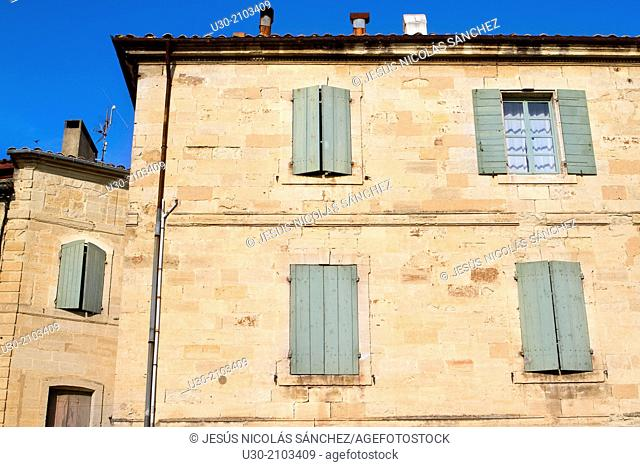 Typical house in Uzes town. Gard department. Languedoc-Roussillon region, France