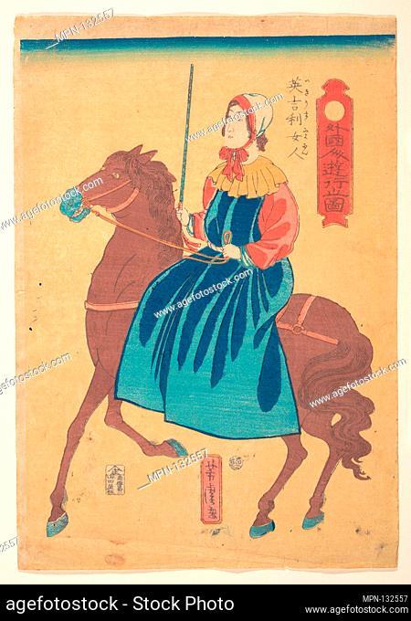 Igirisu nyojin/Englishmen Woman on Horseback. Artist: Utagawa Yoshitora (Japanese, active ca. 1850-80); Period: Edo period (1615-1868); Date: 1st month