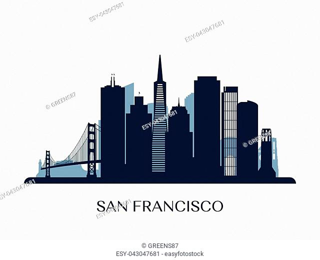 San Francisco skyline, monochrome silhouette. Vector illustration