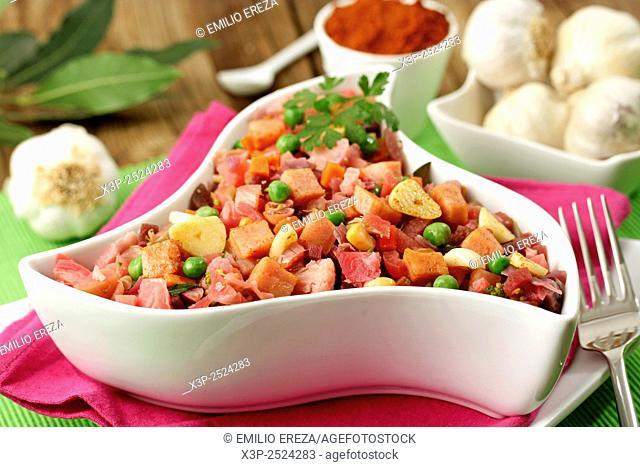 Stir fried vegetables with ham