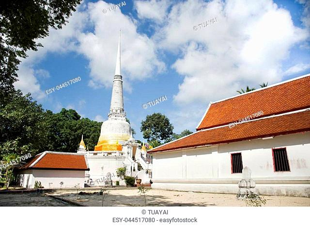 Phra Mahathat Chedi for Thai people visit and respect praying at Wat Kiean Bang Kaew in Khao Chaison District of Phatthalung, Thailand