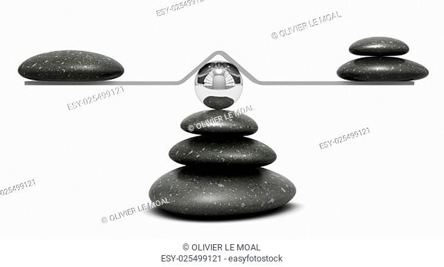 pebbles on a seesaw over white background, equilibrium concept or symbol