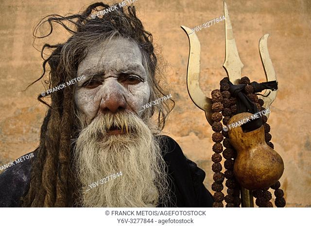 Hindu ascetic ('sadhu') belonging to the Aghori sect ( Varanasi, India). Aghori is an ancient hindu sect whose ascetics are very respected by low caste hindus...