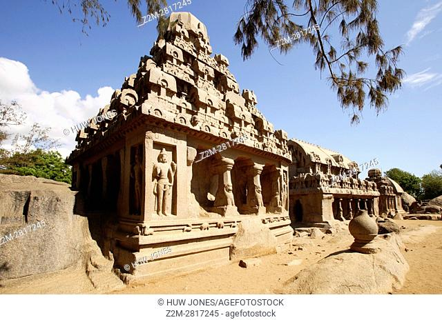 The Five Rathas Group, Mahabalipuram, UNESCO World Heritage Site, Near Chennai, Tamil Nadu state, India, Asia