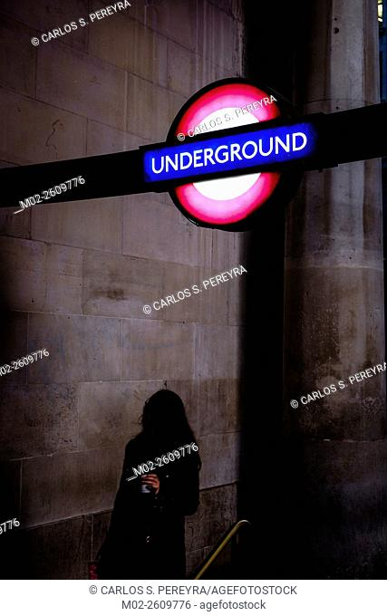 Subway sign in London, England, United Kingdom