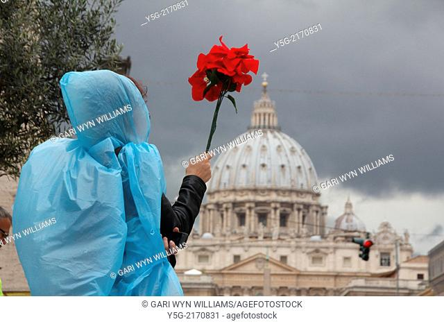 Rome, Italy. 27th Apr, 2014. Pilgrims from all the world gather in the Vatican to celebrate the canonisation of Pope John Paul II and Pope John XXIII