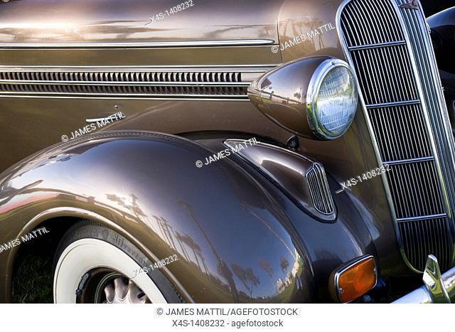 Close-up of a vintage automobile