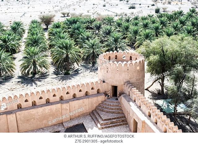 Battlement tower with view of oasis. Jabrin (Jabreen) Castle, Jabrin, Ad Dakhiliyah Governorate, Oman