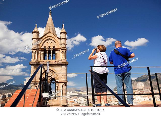 Visitors at the top of the Cathedral near the bell tower, Palermo, Sicily, Italy, Europe