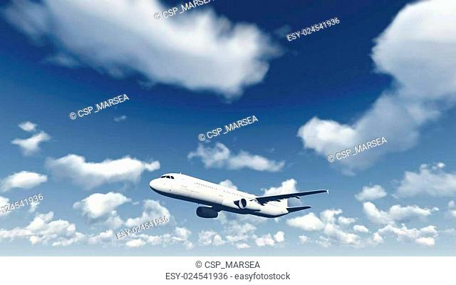 Airliner flies through the cloudy sky 1