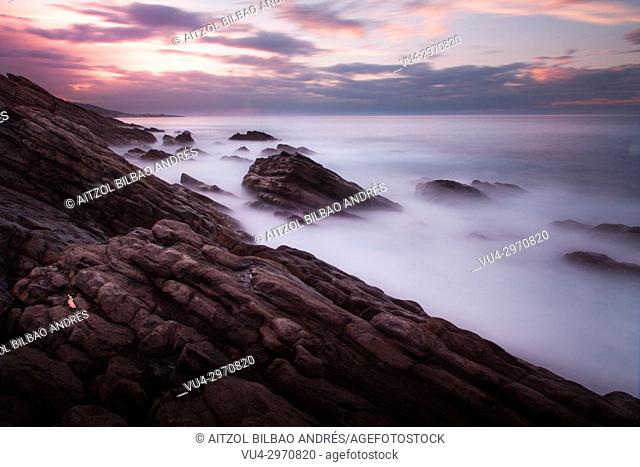 Long exposure in the small beach of Kobaron, a small town of the Basque Country