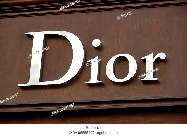 Fashion brand Dior, logo at a facade, Munich
