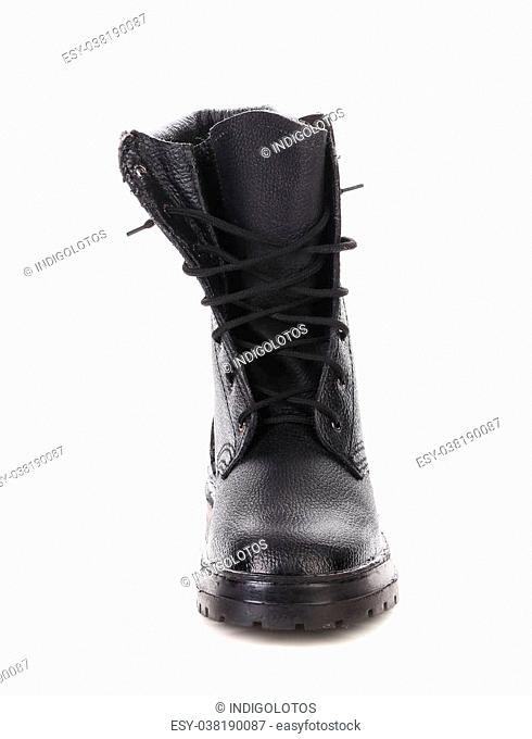 Close up of working boot. Isolated on white background