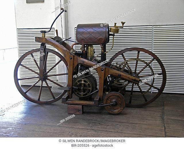 Riding wheel - the first motorbike of the world - Gottlieb Daimler memorial place Bad Cannstatt Stuttgart Baden Wuerttemberg Germany