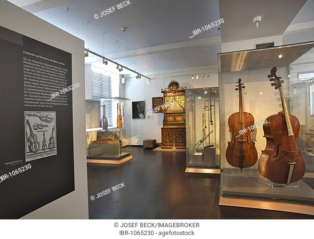 Renaissance hall in the Museum of Musical Instruments in the University of Leipzig, exhibition of early Baroque from the 17th Century, Leipzig music trail