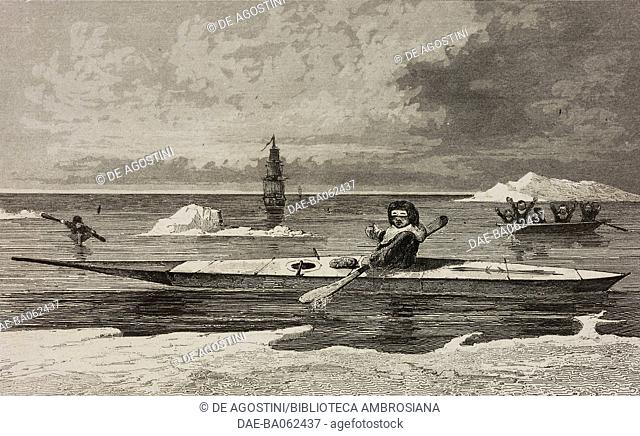 Boats with paddle, Greenland, circumpolar regions, engraving by Vernier from Chili, Paraguay, Buenos-Ayres, by Cesar Famin, Patagonie
