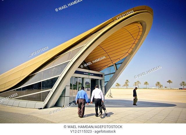 Metro station of the RTA, Palm Deira Dubai, United Arab Emirates