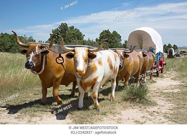 Scottsbluff, Nebraska - A model of a wagon train in Scotts Bluff National Monument. Scotts Bluff was a landmark for westward-bound pioneers traveling on the...