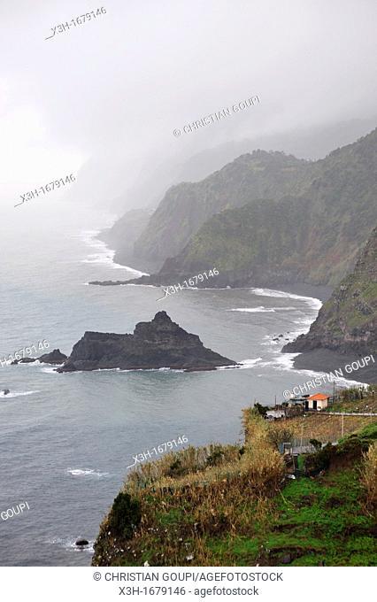 North coast around Arco de Sao Jorge, Madeira island, Atlantic Ocean, Portugal
