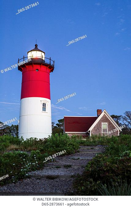 USA, Massachusetts, Cape Cod, Eastham, Nauset Lighthouse, dawn