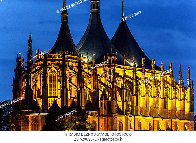 Evening lighting of St. Barbara Cathedral, Kutna Hora, UNESCO city, Czech Republic