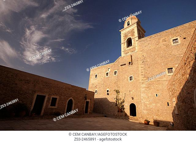 Scene from the Moni Toplou Monastery, Akrotiri Peninsula, Crete, Greek Islands, Greece, Europe