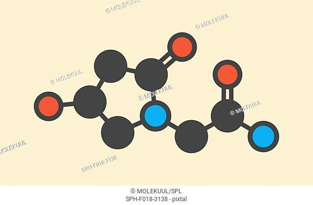 Oxiracetam nootropic drug molecule. Stylized skeletal formula (chemical structure): Atoms are shown as color-coded circles: hydrogen (hidden), carbon (grey)