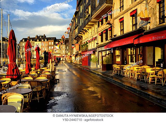 empty streets of old town of Honfleur in early morning, Viux Bassin, Calvados, Normandy, France