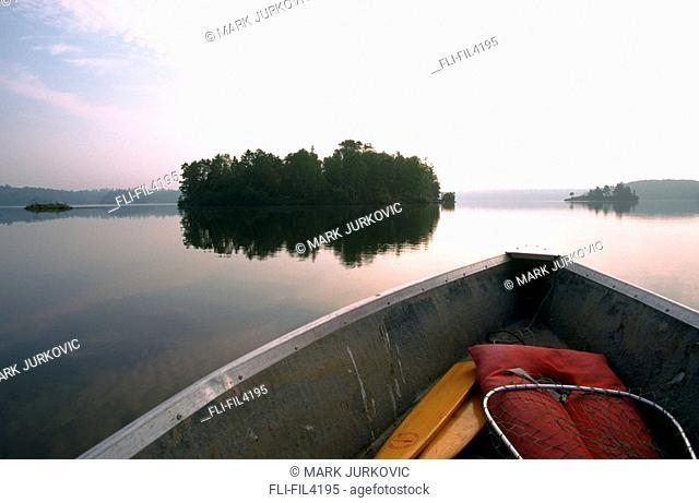 Boat on Nepawassi Lake, Northern Ontario